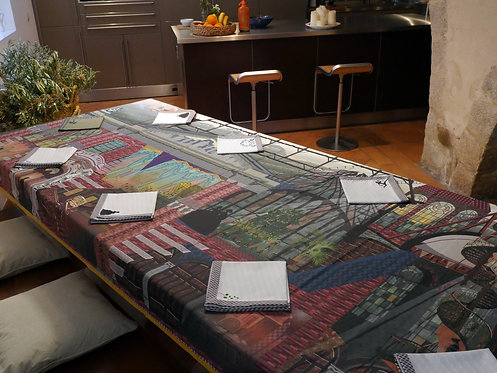 Cinderella's family house. Tablecloth and 8 napkins.