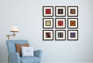 Home décor: wall display with geometrical patterns and mandalas from the back illustrations of Littl
