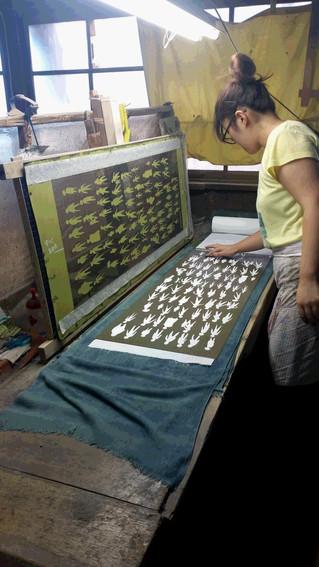 Ancient Japanese printing technique chusen for tenugui production.