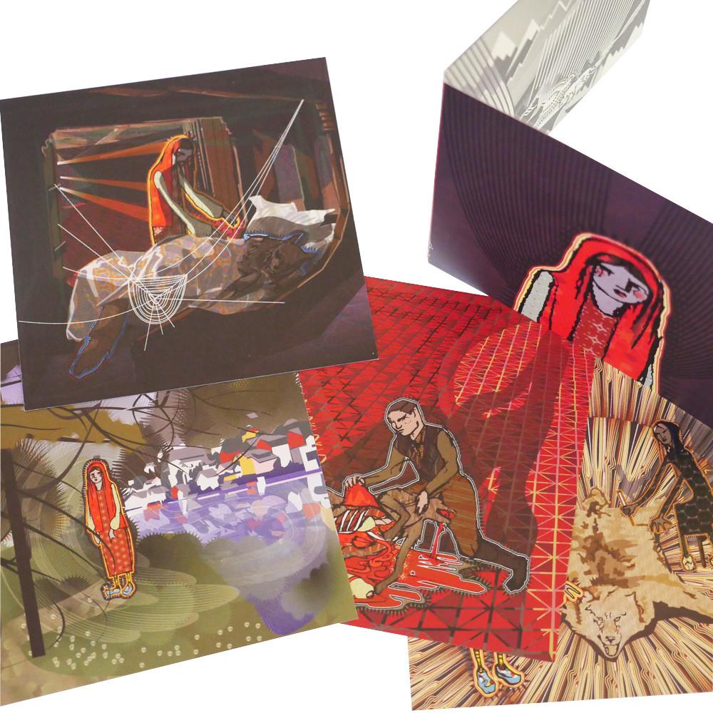 Ilustraciones de Caperucita Roja en tarjetas