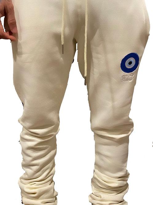 617 'Envy Me' Cream Stacked Sweatpants