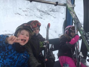 Finn and friends from Canmore ready to ski Revelstoke