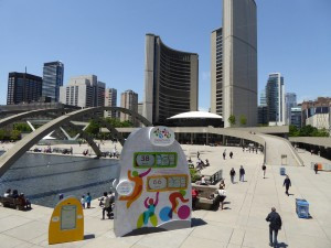 Countdown to the Pan-Am Games... in front of Toronto's austere city hall