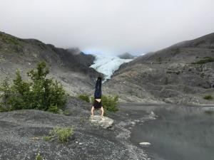 A handstand near the Worthington Glacier