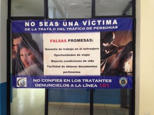 A warning at the Honduran border about people trafficking. This matters...