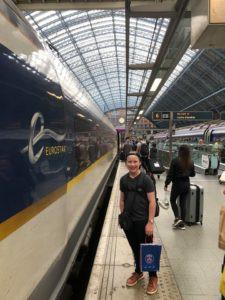 Finn boarding the Eurostar train to Paris