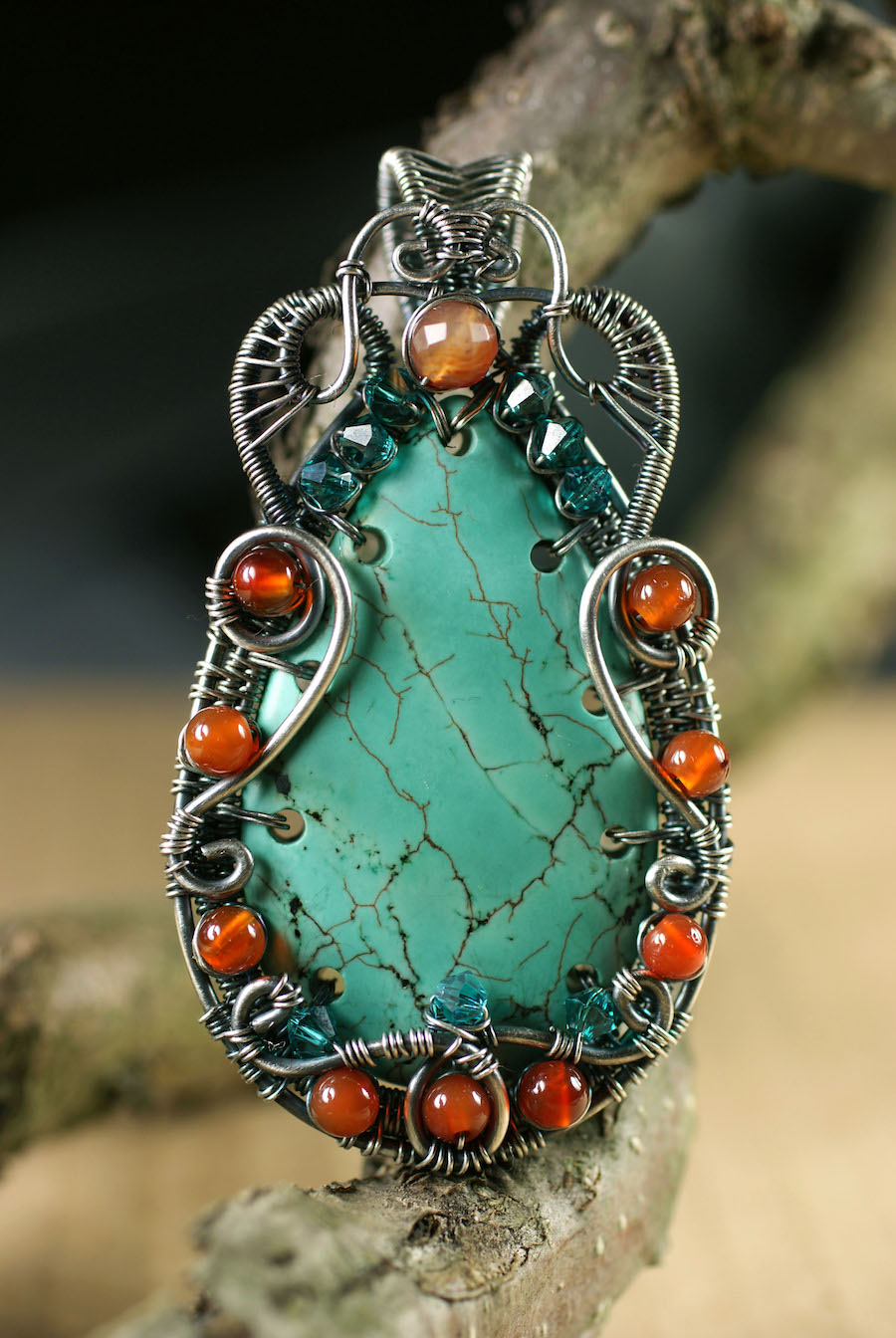 Tourquise and Carnelian Pendant