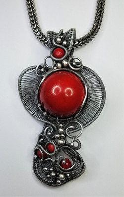Coral Bead Wing Pendant