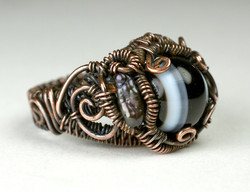 Bead Ring Black Agate