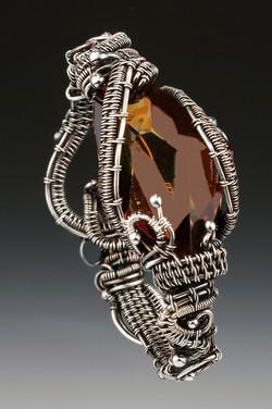 Amber Crystal Woven Bracelet