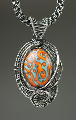 Orange-Blue Lampwork Pendant