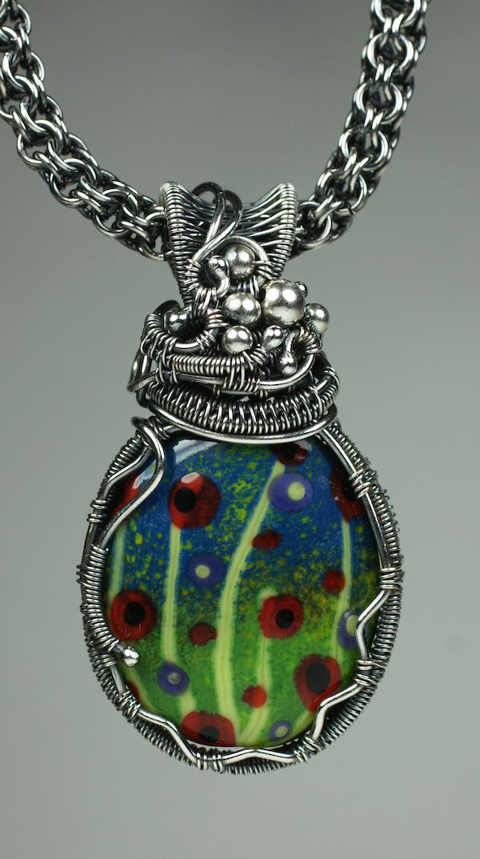 Poppies Lampwork Pendant