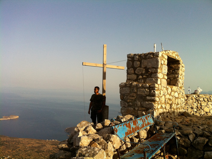 Hiking at Mani. The Sagias Taygetos Mountain with Destination Agia Pelagia Church