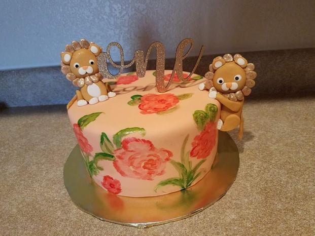 Lion First Birthday Cake