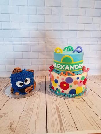 Sesame Street Cake and Cookie Monster Smash Cake