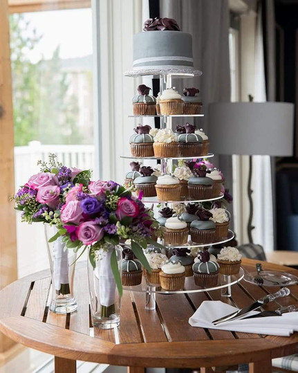 Cutting Cake and Rose Cupcakes
