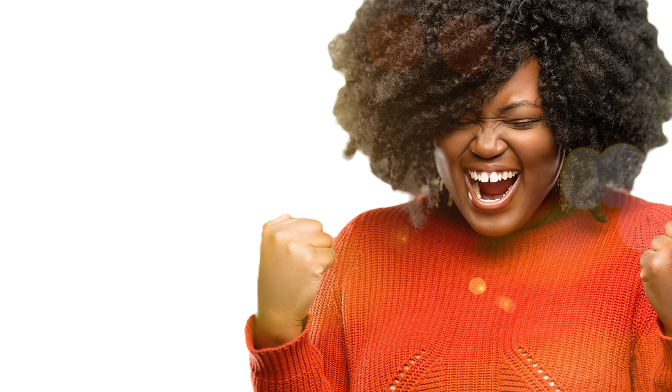 Beautiful african woman happy and excited celebrating victory expressing big success, powe