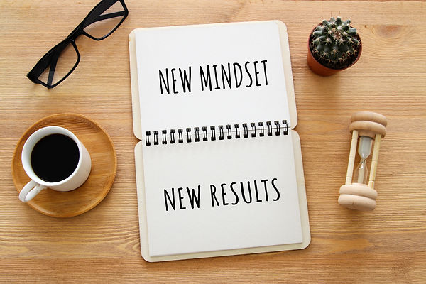 top view image of table with open notebook and the text new mindset new results. success a