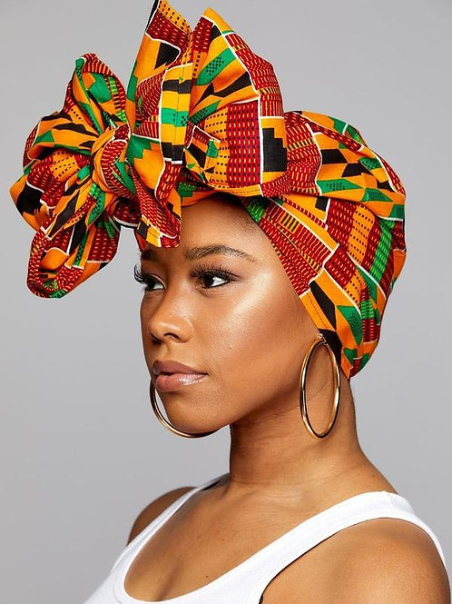 "KENTE Cloth 72""×22"" Headwrap ANKARA Dashiki African Print  - Green, Blk and Oran"
