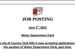 City of Country Club Hills Hiring Water Department Clerk