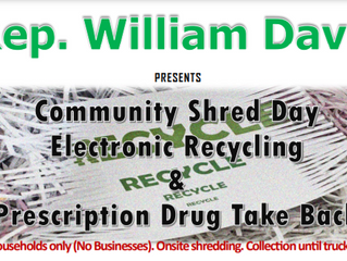 Community Shred Day, Electronic Recycling  & Prescription Drug Take Back on June 12, 2021
