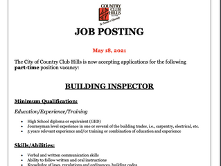 City of Country Club Hills Hiring for Building Inspector