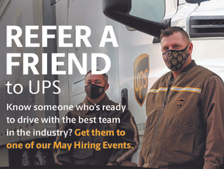 UPS May Hiring Events for CDL Drivers
