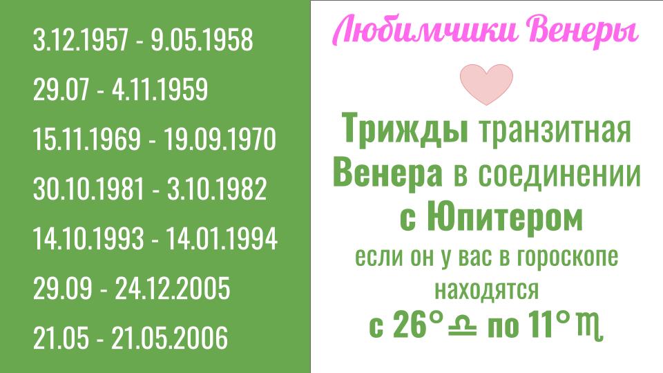 Любимчики Венеры осенью 2018