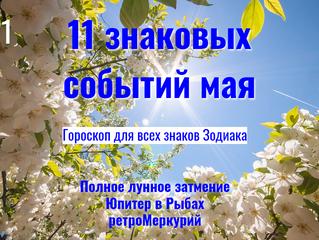 11 знаковых событий мая: ☽ затмение, ♃ ♓, R ♄ и ☿ - гороскоп для всех знаков Зодиака