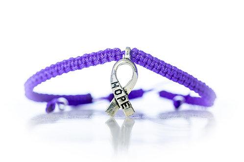 Bracelet noué à la main en violet
