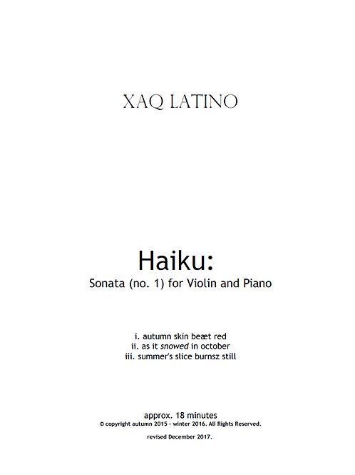 Haiku: Sonata (no.1) for violin and piano (2018)