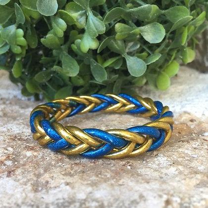 Bracelet bouddhiste couleur dorée et bleue VERSION TRESSEE