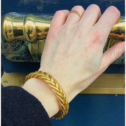 Bracelet bouddhiste couleur dorée VERSION TRESSEE