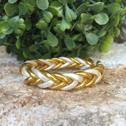 Bracelet bouddhiste couleur dorée et blanche VERSION TRESSEE