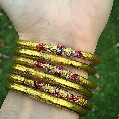 Bracelet bouddhiste couleur dorée VERSION EMAILLEE