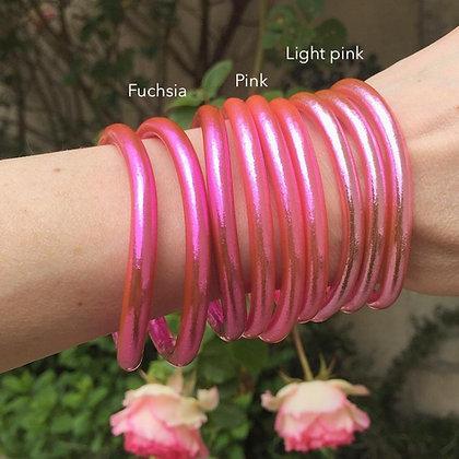 Bracelet bouddhiste couleur rose d'été VERSION LARGE