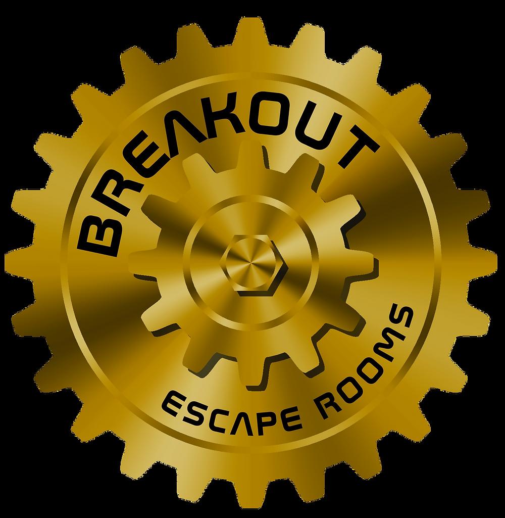 Breakout Escape Rooms Gold Gear Logo Fun Games