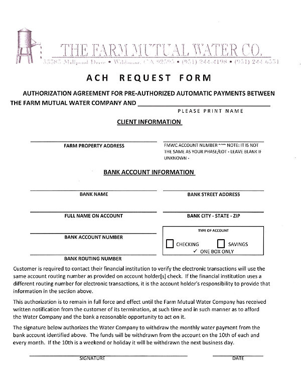Fmwc | Automatic Payment Request Form