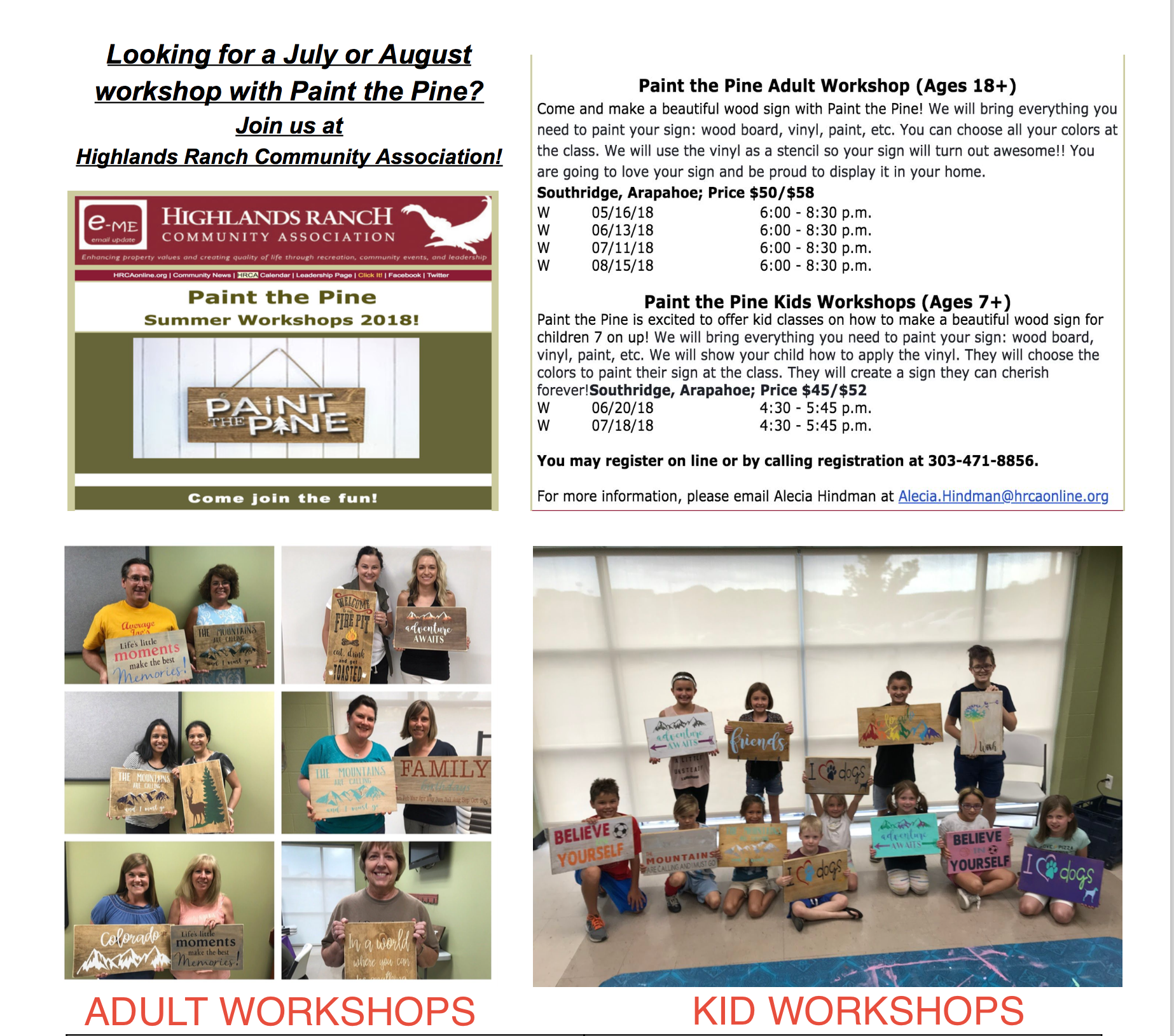 Highlands Ranch Community Center: KID WORKSHOP(Age 7+) Highlands Ranch Community Association