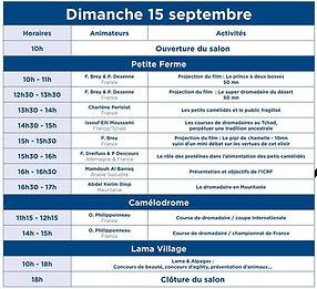 programme DIMANCHE  15 SEPTEMBRE DE LA F