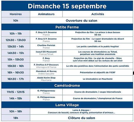 programme DIMANCHE  15 SEPTEMBRE DE LA FEDERATION FRANCAISE DES CHAMEAUX POUR LE SALON INTERNATIONALES DU DROMADAIRES ET DES CAMELIDEES A PARIS JANVRY