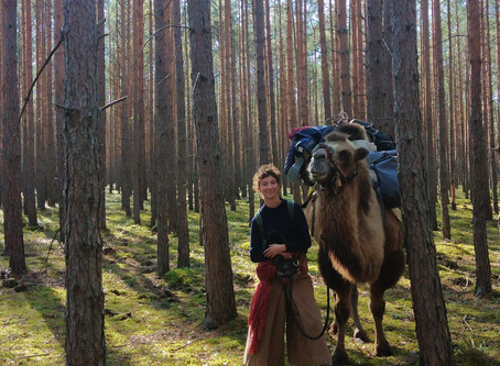 EDMEE MOMMEJA , SA CHAMELLE SUR LES CHEMINS D'EUROPE! HER CAMEL ON THE ROAD OF EUROPE!