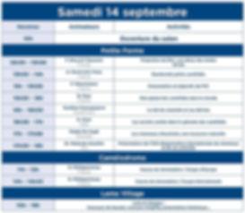 programme  SAMEDI 14 SEPTEMBRE DE LA FEDERATION FRANCAISE DES CHAMEAUX POUR LE SALON INTERNATIONALE DES CHAMEAUX PARIS JANVRY