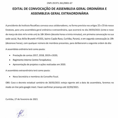 Edital AGO e AGE 2021
