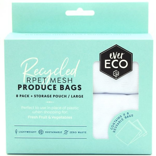 REUSABLE PRODUCE BAGS RPET MESH 8 PACK