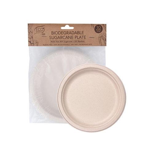 Eco Basics Biodegradable Disposable 17cm Sugarcane Party Plates Natural