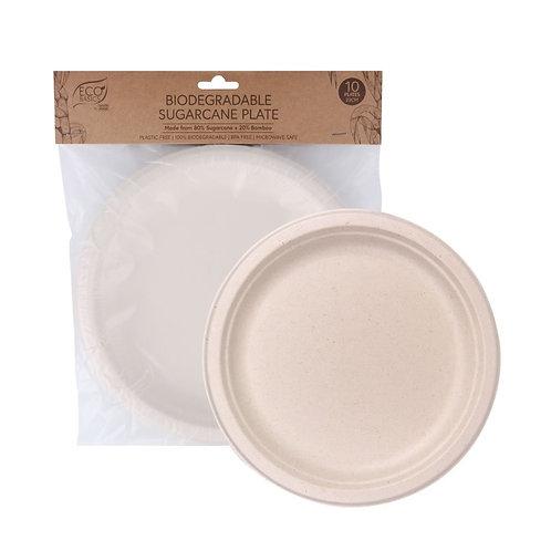 Eco Basics Biodegradable Disposable 23cm Sugarcane Party Plates Natural