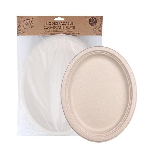Eco Basics Biodegradable Disposable 32cm Sugarcane Party Plates Natural