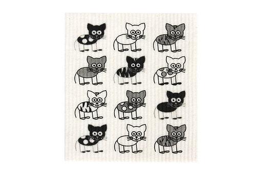 Retro Kitchen Biodegradable Sponge Cloth - Cats