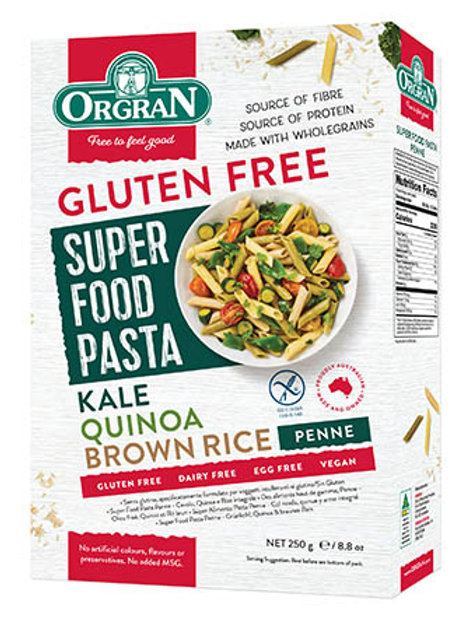 Orgran Superfood Pasta Penne – Kale, Quinoa & Brown Rice